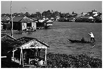 Floating houses on the Hau Gian river. Chau Doc, Vietnam (black and white)