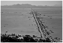 Stilts houses line a road traversing inundated rice fields, seen from Sam mountain. Cambodia is in the far. Chau Doc, Vietnam (black and white)