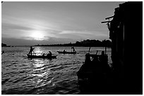 Sunrise on the Hau Gian river. Chau Doc, Vietnam (black and white)