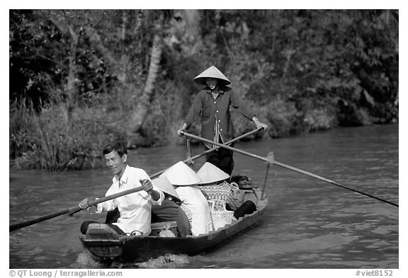 Back from the market on a canal near Phung Hiep. Can Tho, Vietnam (black and white)