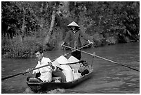 Back from the market on a canal near Phung Hiep. Can Tho, Vietnam ( black and white)