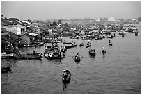 Cai Rang Floating market, early morning. Can Tho, Vietnam ( black and white)