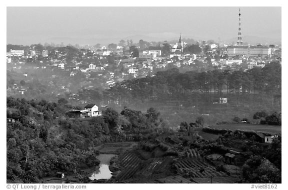 View of the town and hills. Da Lat, Vietnam (black and white)