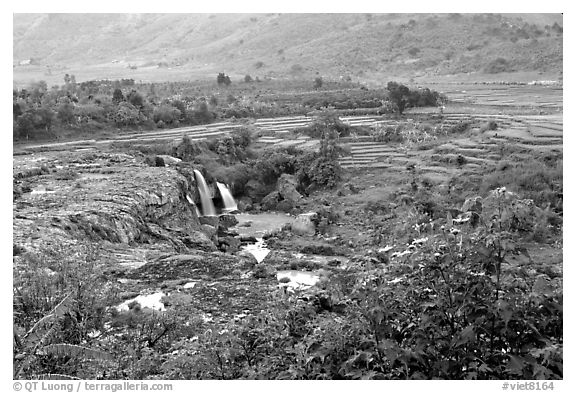 One of the many waterfalls. Da Lat, Vietnam (black and white)