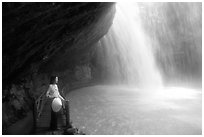 Enjoying the freshness of Cam Ly falls. Da Lat, Vietnam (black and white)