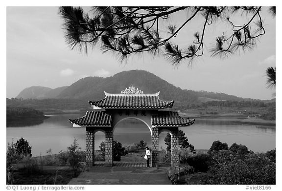 Pagoda set aside one of the many lakes. Da Lat, Vietnam (black and white)