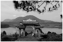 Pagoda set aside one of the many lakes. Da Lat, Vietnam ( black and white)