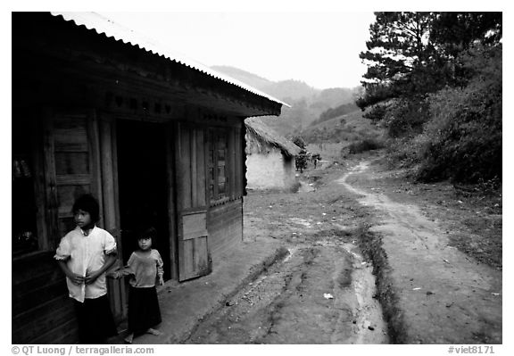 A minority village in the mountains. Da Lat, Vietnam (black and white)