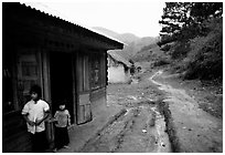 A minority village in the mountains. Da Lat, Vietnam ( black and white)