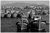 Colorfull fishing boats, Nha Trang. Vietnam (black and white)