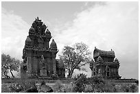 Cham towers, Po Klong Garai. Vietnam ( black and white)