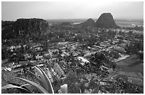 Marble mountains seen from Thuy Son. Da Nang, Vietnam (black and white)