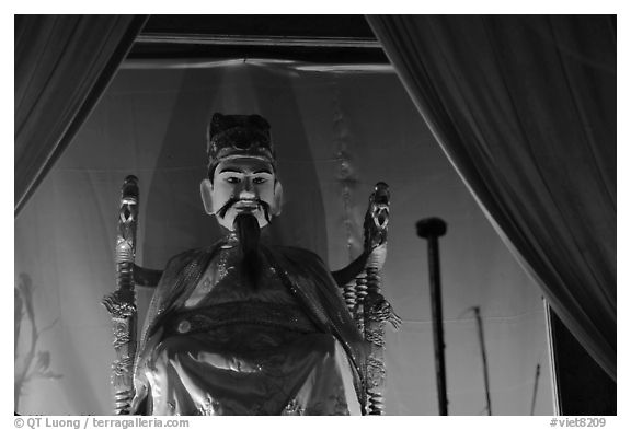 Statue of medieval Vietnam emperor. Hanoi, Vietnam (black and white)
