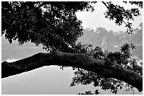 Hoan Kiem (restored sword) lake. Hanoi, Vietnam (black and white)
