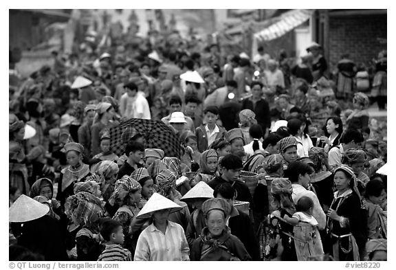 Colorful crowd at the sunday market. Bac Ha, Vietnam (black and white)