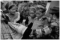Fashion shopping at the sunday market. Bac Ha, Vietnam (black and white)