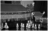 Water puppets performance in 1999.. Hanoi, Vietnam (black and white)