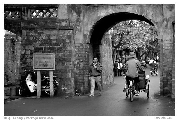 Gates of the old city. Hanoi, Vietnam (black and white)