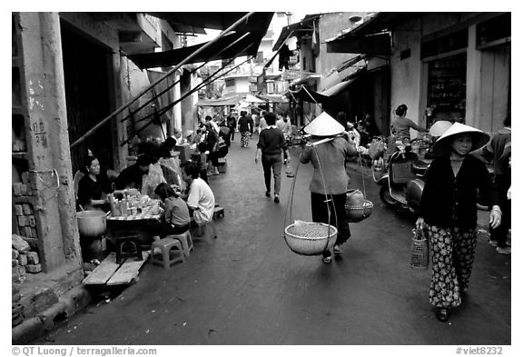 Black and white picture photo street scene in the old city hanoi vietnam