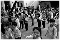 Children, School yard. Hanoi, Vietnam (black and white)