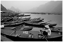 Wharf. Perfume Pagoda, Vietnam (black and white)