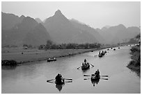 Journey along the river during the festival. Perfume Pagoda, Vietnam (black and white)