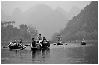Journey along the river. Perfume Pagoda, Vietnam (black and white)