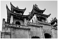 Phat Diem cathedral, built in chinese architectural style. Ninh Binh,  Vietnam (black and white)