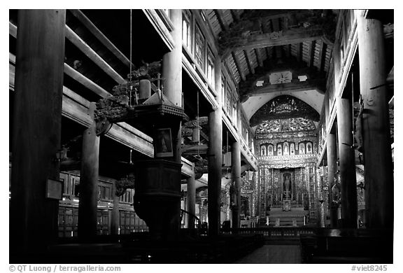 Interior of  Phat Diem cathedral, built in chinese architectural style. Ninh Binh,  Vietnam (black and white)