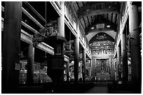 Interior of  Phat Diem cathedral, built in chinese architectural style. Ninh Binh,  Vietnam ( black and white)