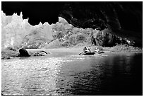 One of the three river underground passages of Tam Coc. Ninh Binh,  Vietnam (black and white)