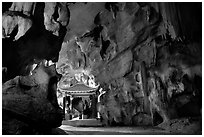 Cave sanctuary near Tam Coc. Ninh Binh,  Vietnam (black and white)