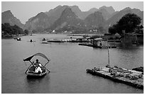 The canal of Ken Ga. Ninh Binh,  Vietnam (black and white)