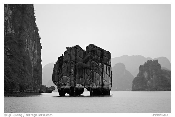 Rock formation standing  among the islands. Halong Bay, Vietnam