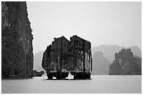 Rock formation standing among the islands. Halong Bay, Vietnam (black and white)