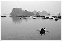 Fishing boat fleet. Halong Bay, Vietnam ( black and white)