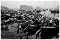 Harbor in Hong Gai. Halong Bay, Vietnam (black and white)