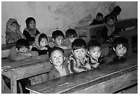 In the classroom. Bac Ha, Vietnam (black and white)