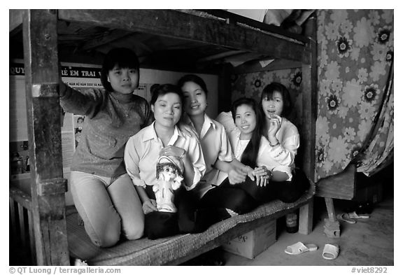 Hanoi-born teachers in the remote mountain outpost of Can Cau. Vietnam (black and white)