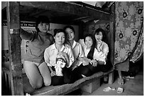 Hanoi-born teachers in the remote mountain outpost of Can Cau. Vietnam ( black and white)