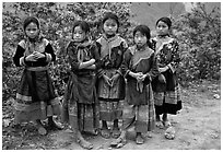 Flower Hmong girls. Bac Ha, Vietnam (black and white)