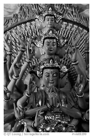 Detail of a buddhist sculpture with many heads. Ha Tien, Vietnam