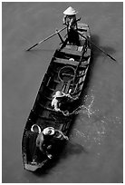 Small boat seen from above. Can Tho, Vietnam (black and white)