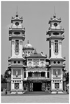 Facade of the Great Caodai Temple. Tay Ninh, Vietnam ( black and white)