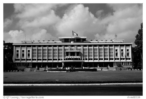 Reunification Palace, the former presidential palace of South Vietnam. Ho Chi Minh City, Vietnam (black and white)