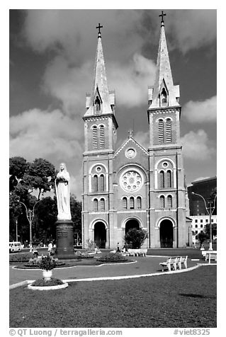 Notre-Dame Cathedral. Ho Chi Minh City, Vietnam (black and white)