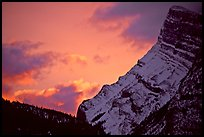 Sunrise and craggy mountain. Banff National Park, Canadian Rockies, Alberta, Canada (color)