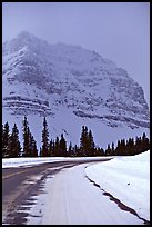 Icefields Parkway partly covered by snow. Banff National Park, Canadian Rockies, Alberta, Canada