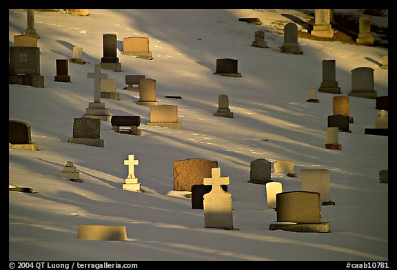 Tombs with crosses in snow. Calgary, Alberta, Canada