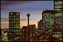 Tower and high-rise buildings, at dusk. Calgary, Alberta, Canada ( color)